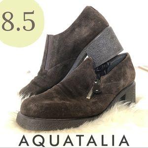 Aquatalia Chunky Square Toe Suede Zip Bootie